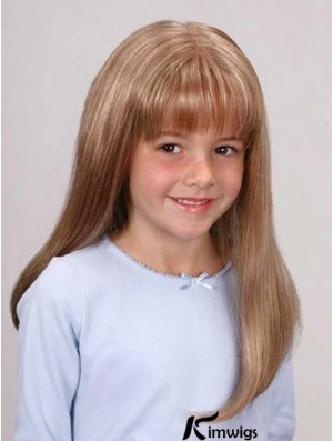 Straight Long Blonde Synthetic Lace Front Kids Wigs
