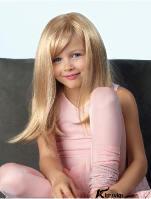 Beautiful Blonde Straight Long Synthetic Lace Front Mono Kids Wigs