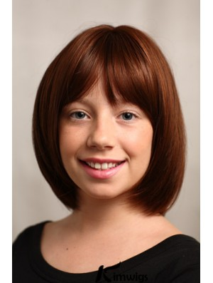 Straight Chin Length Auburn Synthetic Capless Kids Wigs