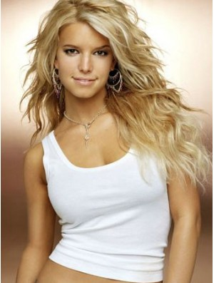 18 inch Style Blonde Long Wavy Layered Jessica Simpson Wigs
