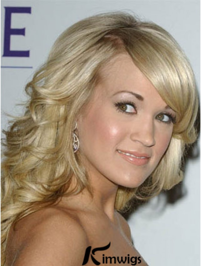 Online Blonde Shoulder Length Wavy 14 Inch With Bangs Carrie Underwood Wigs