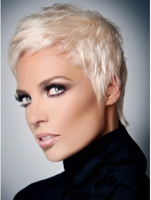 Natural Look Grey Cut Short Length Straight Style Synthetic Wig With Capless For Women