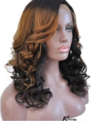 Shoulder Length Ombre/2 Tone Curly Without Bangs Style African American Wigs