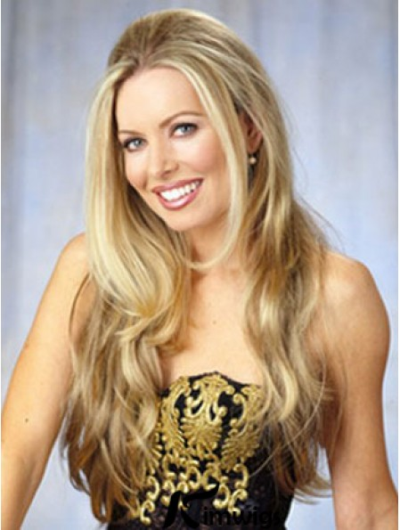Capless Long Synthetic Blonde Wavy 28 inch 3/4 Wig