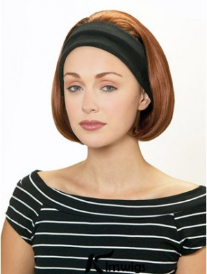 Cheap Half Wigs With Synthetic Chin Length Auburn Color