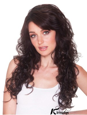 Long Curly Brown New Synthetic Half Wigs