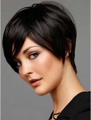 Black Straight Style Short Length Human Hair Wigs For Cancer