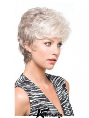 Salt And Pepper Grey Shorter Hair With Synthetic Capless Wavy Wigs
