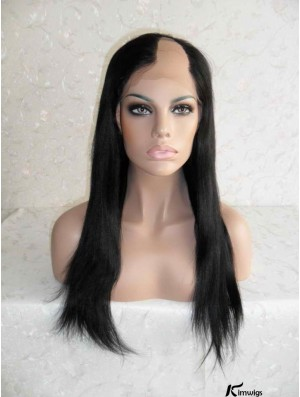 Sleek Black Long Straight U Part Wigs