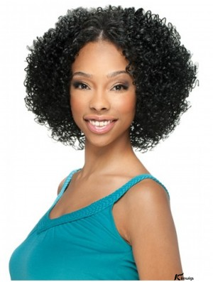 U Part Wigs With Lace Front Chin Length Curly Style