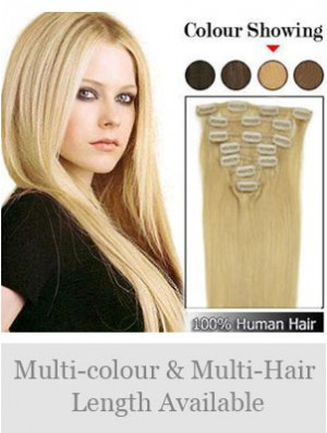 Fabulous Blonde Straight Remy Human Hair Clip In Hair Extensions