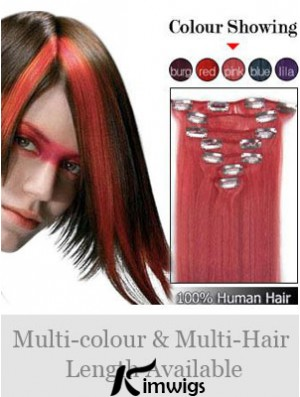 Comfortable Red Straight Remy Human Hair Clip In Hair Extensions