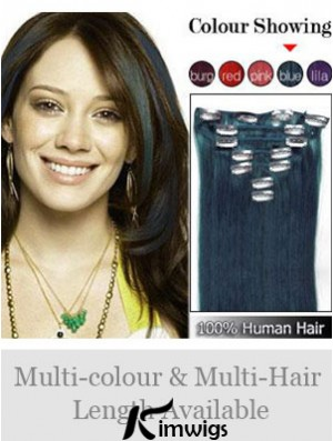 Clip In Human Hair Extensions Straight Style Black Color