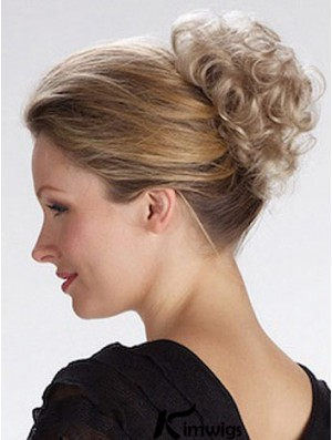 Best Blonde Curly Synthetic Clip In Hairpieces